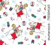 hand drawn christmas seamless... | Shutterstock . vector #750304165