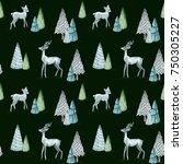 watercolor christmas seamless...   Shutterstock . vector #750305227