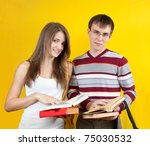 young smiling students with... | Shutterstock . vector #75030532