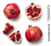 Small photo of Fresh whole and half of pomegranate isolated on white background from top view