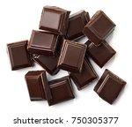 dark chocolate pieces isolated... | Shutterstock . vector #750305377