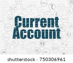 banking concept  painted blue... | Shutterstock . vector #750306961