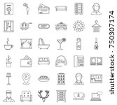 hotel icons set. outline style... | Shutterstock .eps vector #750307174
