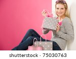portrait happy fashion woman in ... | Shutterstock . vector #75030763