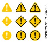 set of caution icons. caution... | Shutterstock . vector #750309811