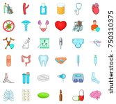 treatment icons set. cartoon... | Shutterstock .eps vector #750310375
