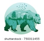double exposure  wild bear and... | Shutterstock .eps vector #750311455