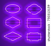 set of realistic glowing purple ... | Shutterstock .eps vector #750313159
