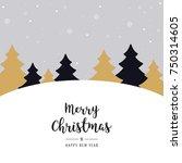 christmas winter landscape... | Shutterstock .eps vector #750314605