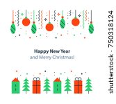 Happy new year and merry Christmas decoration elements, minimalist winter holidays background, festive backdrop, colorful postcard, celebration concept, flat design illustration, vector icons