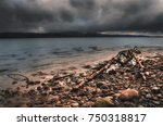 storm on the alpine lake.... | Shutterstock . vector #750318817