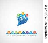 vector bicycle  spare parts ... | Shutterstock .eps vector #750319555