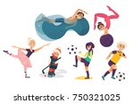 vector cartoon kids doing... | Shutterstock .eps vector #750321025