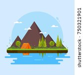 camping with mountains  forest  ... | Shutterstock .eps vector #750321901