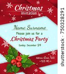 christmas invitation with satin ... | Shutterstock .eps vector #750328291