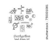 hand drawn doodle navigation... | Shutterstock .eps vector #750331081