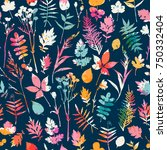 seamless pattern with floral... | Shutterstock .eps vector #750332404