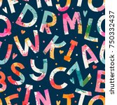 seamless pattern with letters.... | Shutterstock .eps vector #750332437