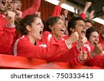 fans celebrating at football... | Shutterstock . vector #750333415