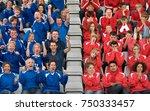 rival fans at football match | Shutterstock . vector #750333457