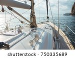 luxury yacht sailing in the... | Shutterstock . vector #750335689