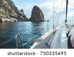 luxury yacht sailing in the... | Shutterstock . vector #750335695