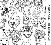 Pattern With Muzzles Of Dogs O...