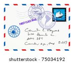 air mail envelope with stamps...