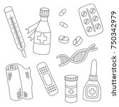 medicine drugs pills bottles... | Shutterstock .eps vector #750342979
