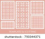 decorative panels set for laser ... | Shutterstock .eps vector #750344371