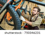 young man checking tires and... | Shutterstock . vector #750346231