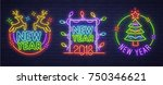set neon logo  label  emblem.... | Shutterstock .eps vector #750346621