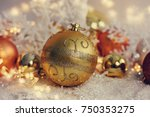 christmas balls on the snow.  | Shutterstock . vector #750353275