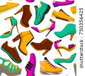 shoes seamless pattern.... | Shutterstock .eps vector #750356425