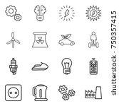 thin line icon set   gear  bulb ... | Shutterstock .eps vector #750357415