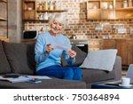 receiving mail. joyful positive ... | Shutterstock . vector #750364894