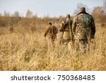 group of hunters during hunting ...   Shutterstock . vector #750368485