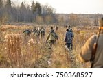 group of hunters during hunting ... | Shutterstock . vector #750368527