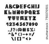 alphabet in scandinavian style. ... | Shutterstock .eps vector #750370501