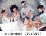 happy business team eating... | Shutterstock . vector #750372514