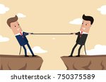 businessmen in suit pull the... | Shutterstock .eps vector #750375589