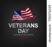veterans day with usa flag....   Shutterstock .eps vector #750376339