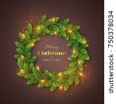 christmas wreath with realistic ... | Shutterstock .eps vector #750378034