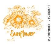 sunflower. sunflower card... | Shutterstock .eps vector #750380647