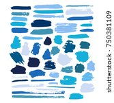 blue vector brush strokes of... | Shutterstock .eps vector #750381109