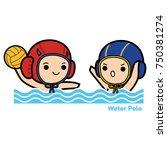 water polo cartoon vector...   Shutterstock .eps vector #750381274