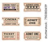 vintage tickets and coupons.... | Shutterstock .eps vector #750383659