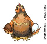 illustration of a brown chicken ... | Shutterstock .eps vector #750384559