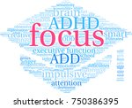focus adhd word cloud on a... | Shutterstock .eps vector #750386395