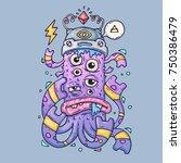 multi eyed cartoon monster.... | Shutterstock .eps vector #750386479